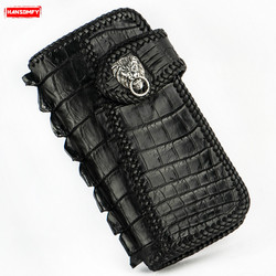 Carteras largas hechas a mano para hombres y mujeres con hebilla de cuero de cocodrilo soporte tarjetero retro Cartera de cuero genuino Negro Bolso de mano para hombre