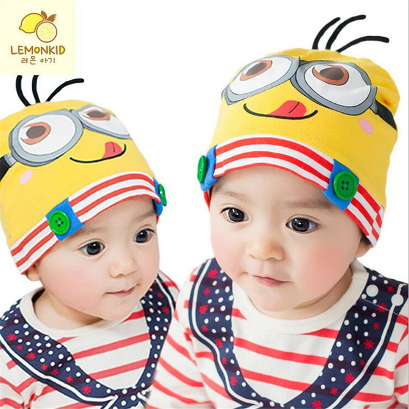 2018 New Arrivals Spring& Autumn Children Baby Boy Girl Hat Cartoon Minions Baby Hat Knitted Warm Cotton Toddler Beanie Cap