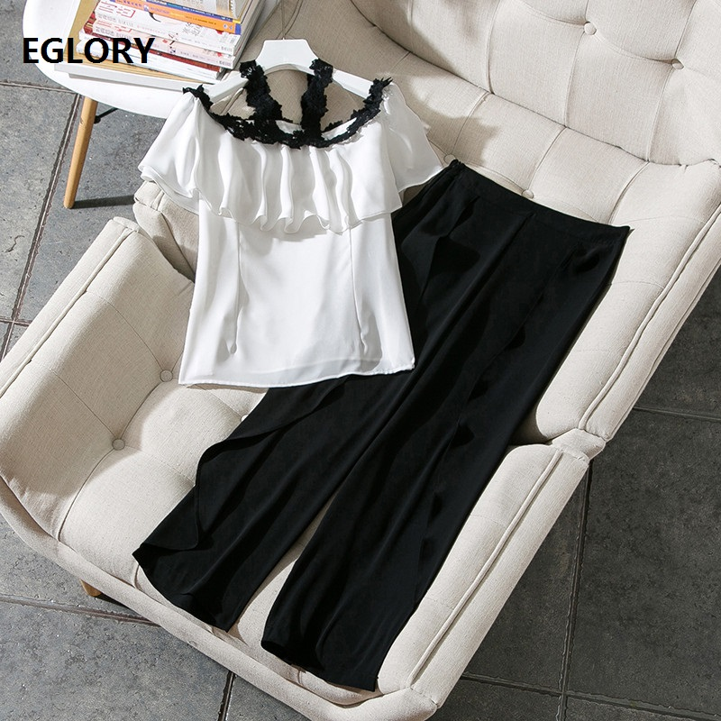 Elegant Pant Suits Office Work Ladies Lace Strap Ruffles White Tops Blouse+Wide Leg Split Sexy Black Pant Set Clothing Summer