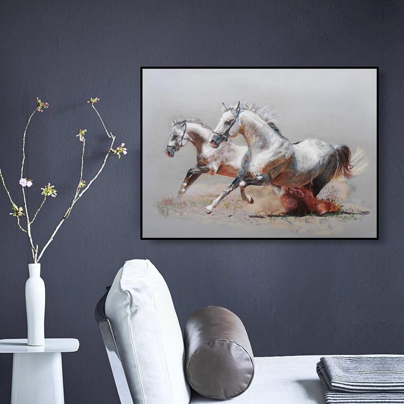 Koně olejomalba vytištěna na plátně barevné nástěnné obrazy pro obývací pokoj domácí výzdoba