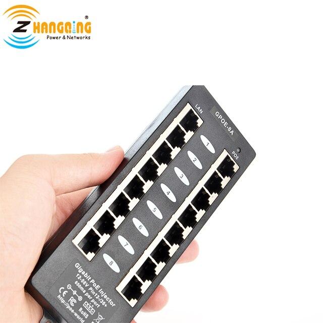 48V متعددة ميناء جيجابت محول تغذية الطاقة عبر شبكة إيثرنت مع 8 منافذ الطاقة عبر الإيثرنت السلبي أو 802.3af ل سيسكو 48v جهاز و IP كاميرا