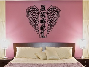 Image 1 - Vinyl Decal Christian Angel Wings Religion Christianity Religious Living room bedroom home decor Wall Sticker 2CB6