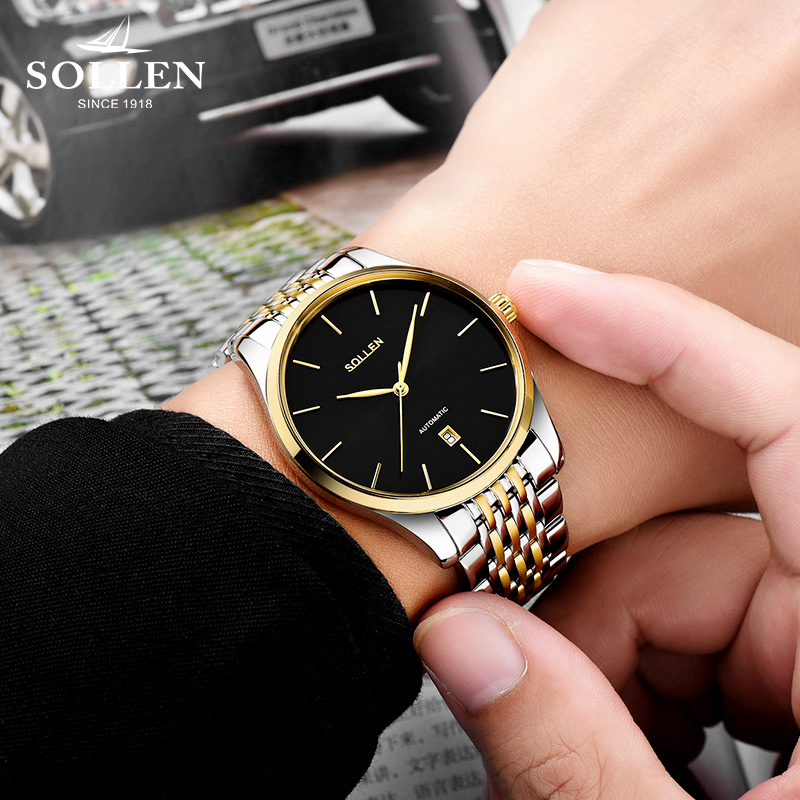 SOLLEN Brand Luxury Men Watch Business Automatic Machinery Clock Stainless Steel Band Classic Upscale Man Watch Gold Relogio luxury brand sollen men s business watch automatic machinery stainless steel milanian wristband successful man watches male new