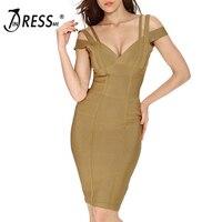 INDRESSME 2017 New Women Sexy Solid Spaghetti Strap V Neck Sheath Summer Bandage Dress