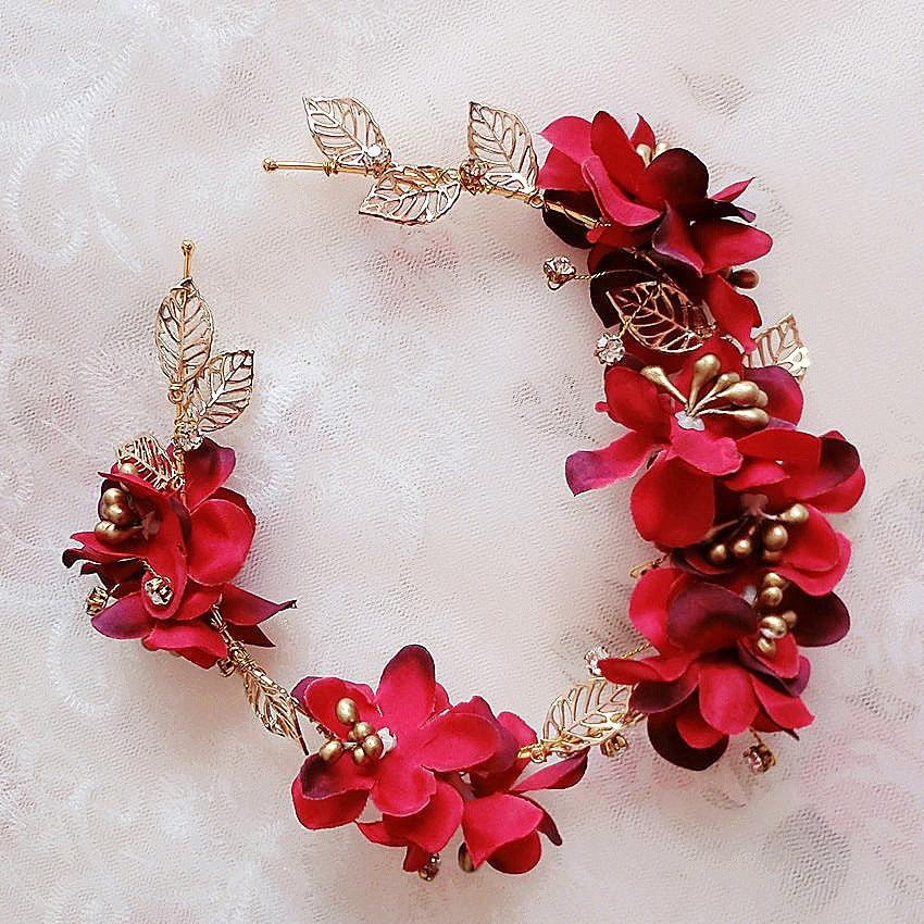 Gold Leaf Red Rose cristalina de la flor del tocado pelo de la boda accesorios estudio
