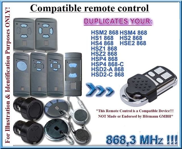 Hormann Hsz2 Hsp4 Hsd2 Hsm2 Hsm4 868mhz Universal 868mhz Electric