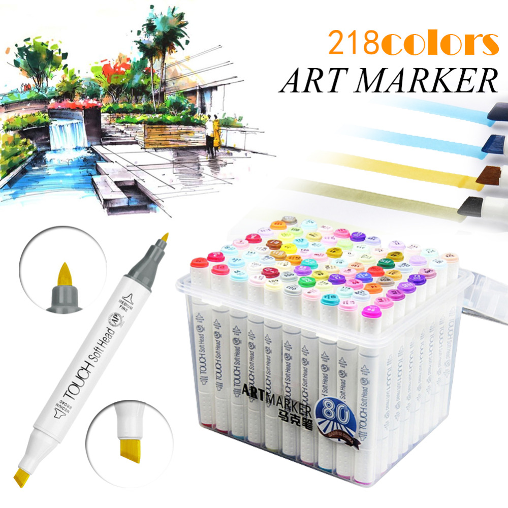 60/80/218 Colors Alcohol Based Art Markers Dual Headed Artist Graphic Sketch Markers Pen For Drawing Art Supplies touchnew 60 colors artist dual head sketch markers for manga marker school drawing marker pen design supplies 5type