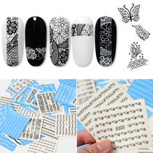 T-TIAO CLUB  Hollow Flower Lace Musical Black Nail Art Water Transfer Stickers Decals Manicure Decor DIY Watermark Tips стоимость