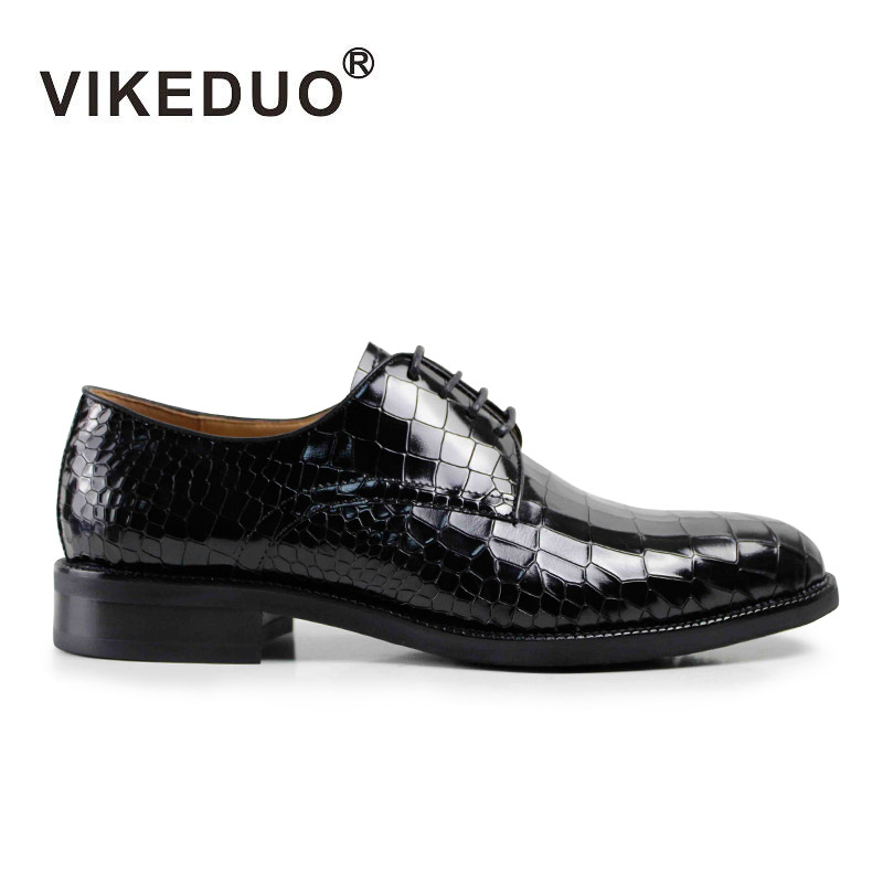 VIKEDUO Luxury Brand Vintage Mens Derby Shoes Casual Breathable Lace Up Genuine Leather Calf Design Dress  Shoes Black vikeduo luxury brand vintage retro handmade mens derby shoes brown fashion italy design wedding party shoes genuine leather