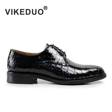 VIKEDUO flat shoes Vintage Men's Derby Shoes 100% genuine leather handmade fashion luxury dress shoes classic original design