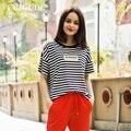 Veri Gude mulheres listrado t-shirt de manga curta de verão Plus Size solto Tops