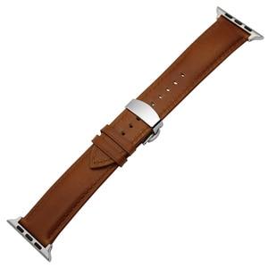 Image 5 - איטליה אמיתי עור רצועת השעון עבור iWatch אפל שעון 38mm 40mm 42mm 44mm סדרת 5 4 3 2 פרפר אבזם להקת מטורף סוס רצועה