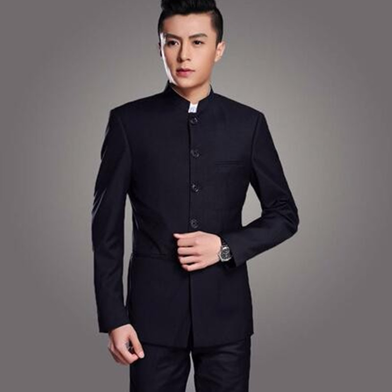 Stand Collar Chinese Tunic Men Suit Set Latest Coat Pant Designs Suits Groom mens suit Costume Made Plus Size (Jacket+Pant) New