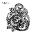 Luxury Gray Crystal Ring Silver Plated Vintage Jewelry Big Flower Shape Elegant Rings For Women Fashion 2016