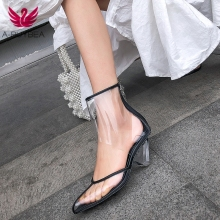 купить Size 43 PVC Clear Heels Sandals Women Sexy Pointed Toe Wedge Transparent High Heels Runway Shoes Ankle Strap Summer Boots Female по цене 2672.18 рублей