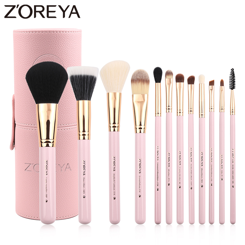 Zoreya Brand 12Pcs Colorful Luxury Makeup Brushes Set Professional Synthetic Hair Brush Set Lip blush makeup cosmetic Brushes 2017 new 6w rgb led plastic fiber optic star ceiling kit light 17key remote optical fiber lights engine page 3 page 3
