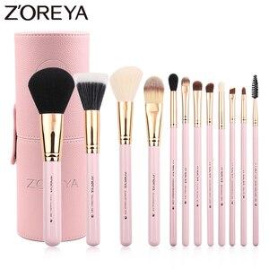 Image 1 - Zoreya Juego de brochas de pelo de cabra, 12 Uds., juego de brochas de maquillaje de lujo colorido, Kit de brochas profesionales, herramienta cosmética de maquillaje para base y colorete
