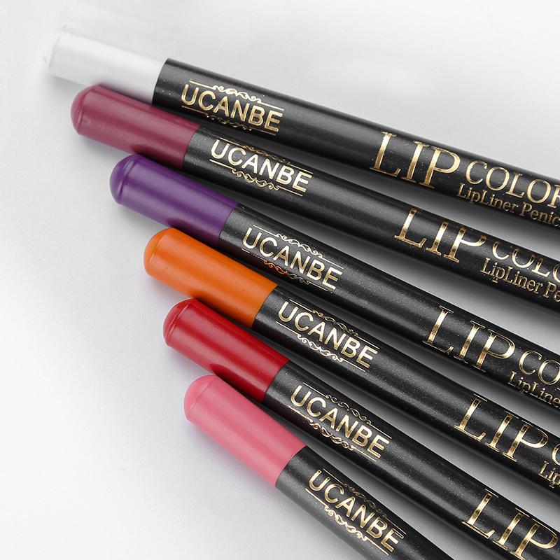 UCANBE 12pcs/Set Multi-Color Ultra Matte Lip Liner Pencil Rouge Waterproof Wooden Lip Pen Makeup Lasting Velvet Shape Lips Liner 12