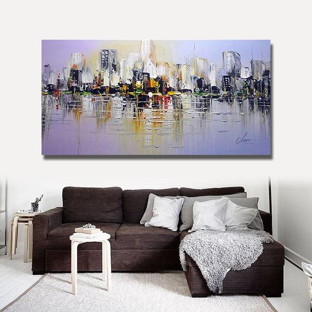 Große leinwand wandkunst abstrakte moderne dekorative bilder New york city  ölgemälde auf für wohnzimmer dekoration