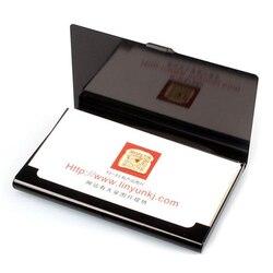 Titular de alumínio criativo caixa útil capa cartão de crédito carteira (preto)