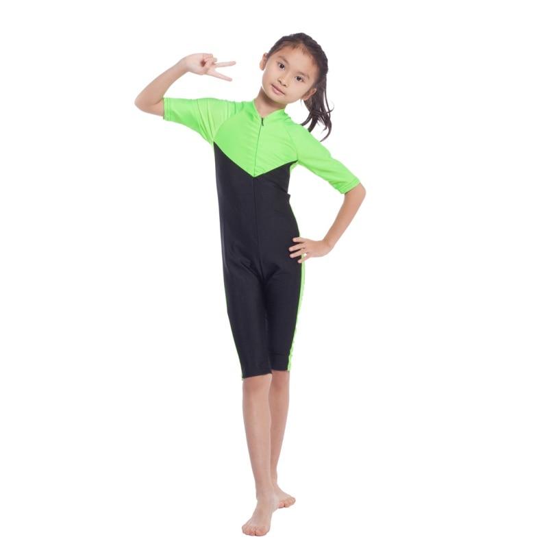 One-piece Muslim Islamic Tops Modest Pool Beach Swimming Swimwear Kids Swimsuit Accessories T8
