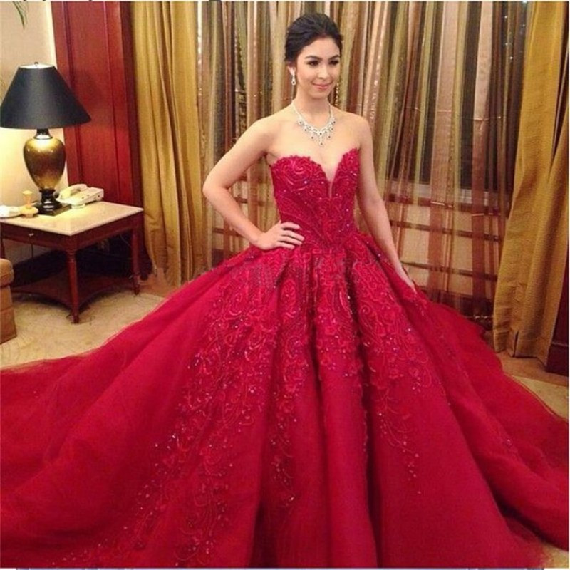 Popular Red Ball Gown Wedding Dress-Buy Cheap Red Ball Gown ...