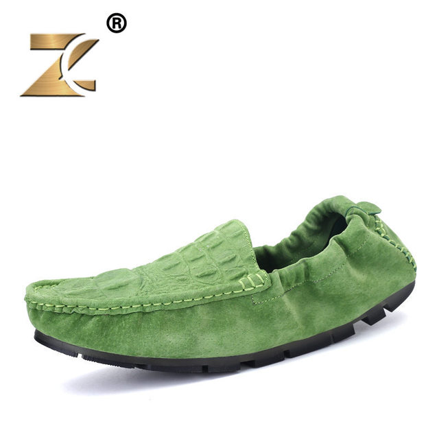 Z Top Quality 2017 New Men Brand Casual Shoes Leather Crocodile Pattern Egg Rolls Peas Shoe Men Loafers Size 39-44