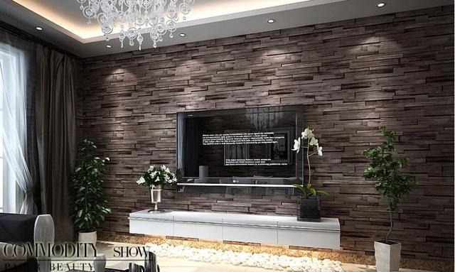 Aliexpress.com : Pvc Holz Stein Ziegel Tapete 3d Moderne Wand ... Wohnzimmer Design Wand Stein