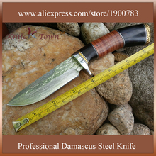 DT096 new arrival damascus steel fixed Blade leather handle Straight Tactical hunting knives Camping Outdoor cuchillo caza