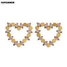 SANSUMMER New Fashion Metal Heart shape Cubic Zirconia 925 Needle Stud Earring High Quality Boho Woman Jewelry Accessory 3336