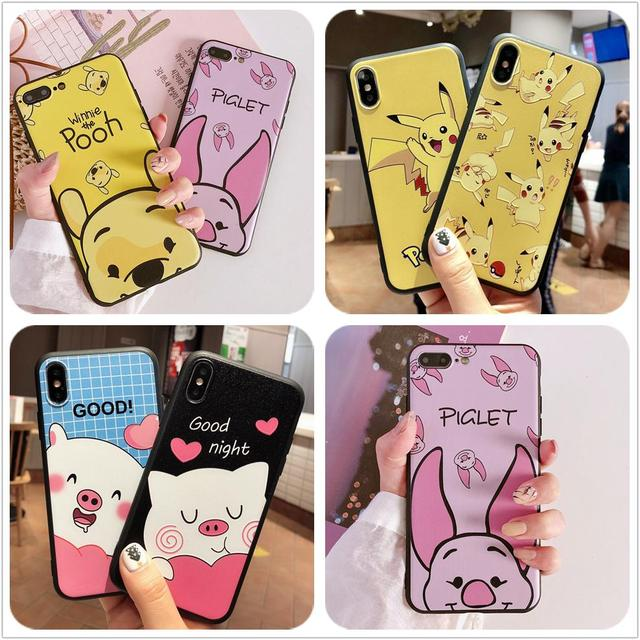 Pikachu Phone Case For OPPO R11 R11S Plus R17 R15 Pro A59 F1s A39 A57 A83 A73 A79 A75 F5 A5 A3S F9 Soft Winnie Pooh Piglet Cover