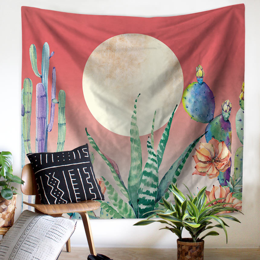 Plant Cactus Window Tapestry Macrame Wall Hanging Beach Towel Sitting Blanket Mexican Home Decoration Boho College Dorm Decor-in Tapestry from Home & Garden