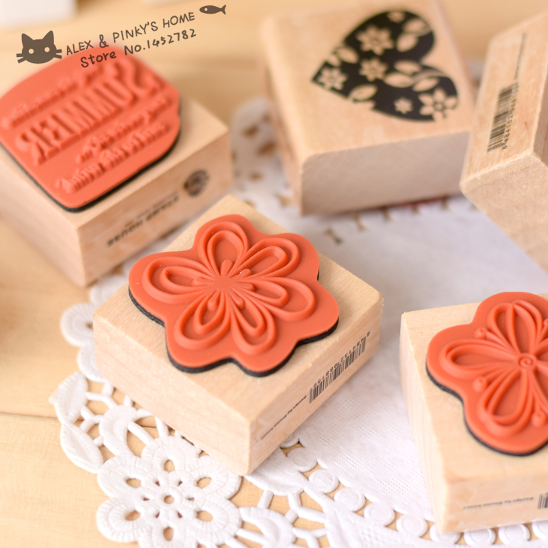 DIY 4PCS/SET Vintage Retro Wooden Stamp Love Flower Stamps Scrapbook Diary Gift Stationery Rubber Stamp tinta sellos diy wooden vintage classic retro lace flower decoration stamp for diary scrapbooking creative gift free shipping 664