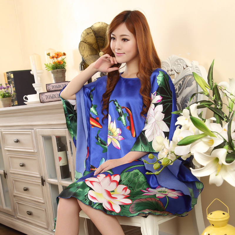 Summer New Light Blue Chinese Style Silk Rayon Robe Womens Sexy Loose Home Dress Vintage Kaftan Bath Gown Pajamas One Size Q02