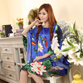 Verão Nova Luz Azul Estilo Chinês Rayon Robe de Seda das Mulheres Sexy solto Vestido Casa Vintage Kaftan Vestido de Banho Pijamas Plus Size Q02