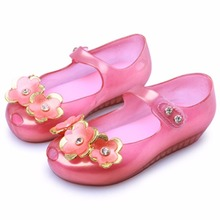 Melissa New Cute Flowers Girl Jelly Sandals Shoes Soft Bottom Brazil Kids Breathable High Quality  13-18cm
