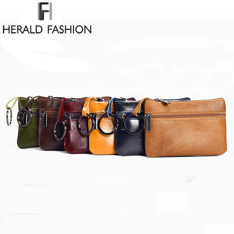 Herald Fashion Genuine Leather Small Mini Coin Purse Change Wallet Purse Women Key Wallet Coin Bag Holder Case Mini Pouch Zipper