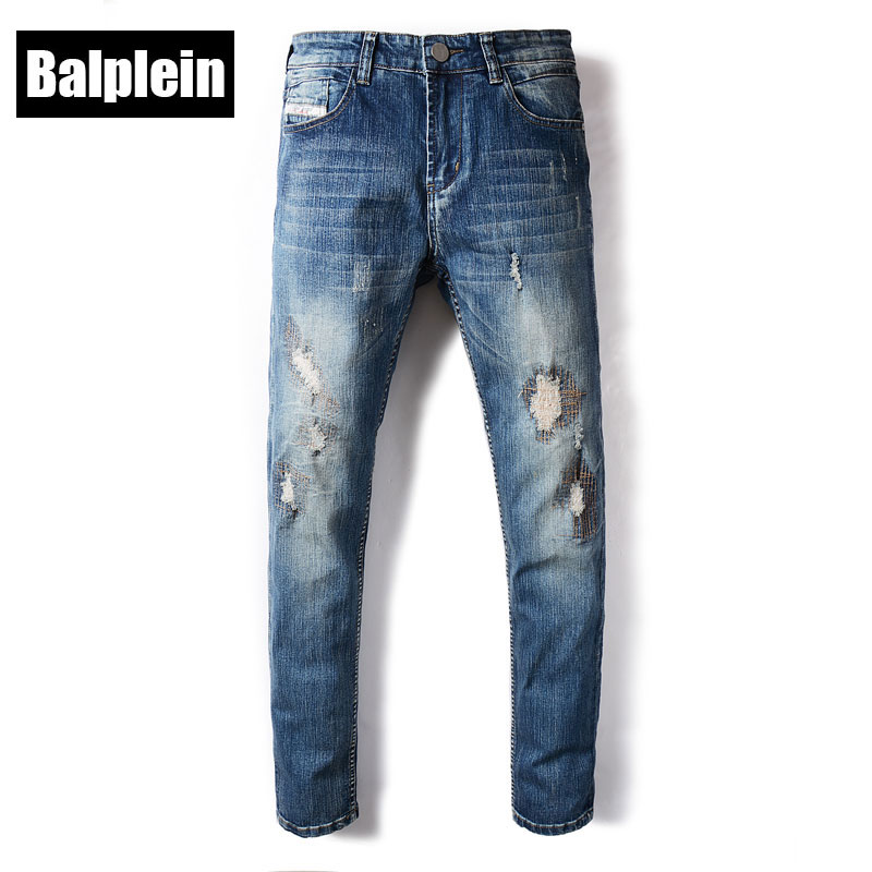 Balplein Brand Fashion Mens Jeans Blue Color Denim Elastic Stretch Ripped Jeans Men Autumn Winter Newly Destroyed Skinny Jeans 2017 fashion patch jeans men slim skinny stretch jeans ripped denim blue pants new famous brand mens elastic jeans f701