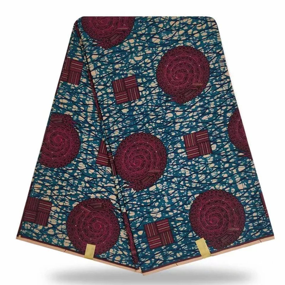 Blue African Cotton Fabrics Mites Wax Print For Sewing Dress Kitenge Tissues Africain Pagnes Lapa YBGHL 75 11 in Fabric from Home Garden