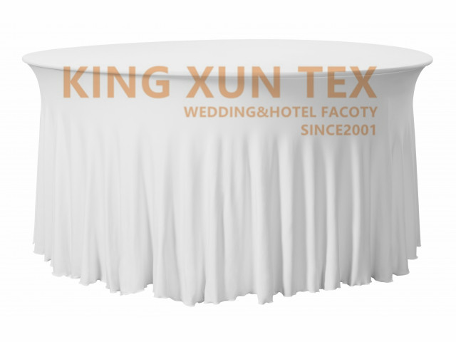 5pcs Ruffled Round Spandex Table Cover Cloth Stretch Tablecloth For Wedding Event Decoration