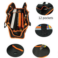 Large Capacity Tool Bag Carpenter Rig Hammer Waist Canvas Tool Bag Multi Pockets Electrician Holder Portable Working Equipment