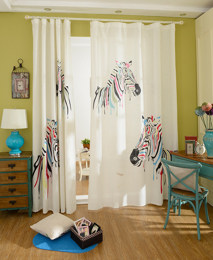 Zebra Window Curtains Cheap Cartoon Linen And Cotton Bedroom Curtains  American Style Cortina 1.4*2.6