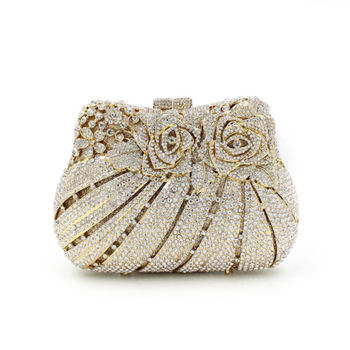 BL007 rose flower shape Luxury crystal Clutch bags bling rhinestone evening bags Gold women evening clutch bags party bag