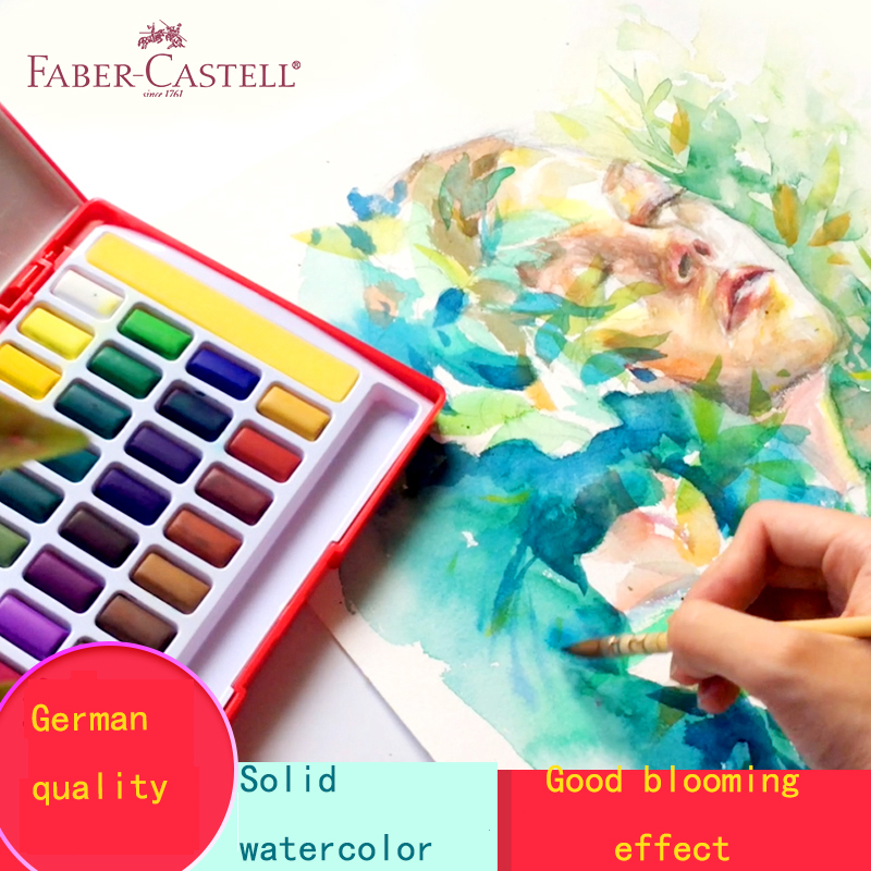 Image 3 - Faber Castell 24/36/48Color Solid Watercolor Paint Box With Paintbrush Bright Color Portable Watercolor Pigment Art Supplies    -