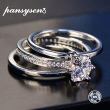 Роскошные женские белые свадебные кольца набор Настоящее серебро 925 ювелирные изделия с Цирконом обручальные кольца с камнями для женщин