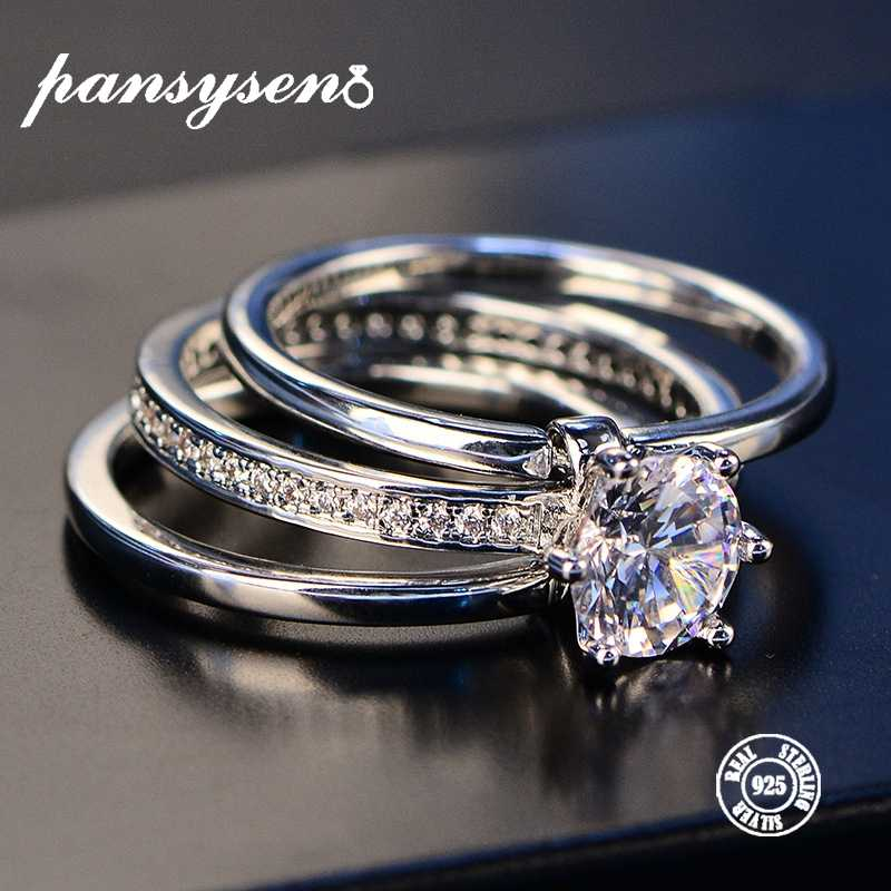 2019 Luxury Female White Bridal Wedding Ring Set Real Sterling Silver 925 Jewelry With Zircon Stone Engagement Rings for Women
