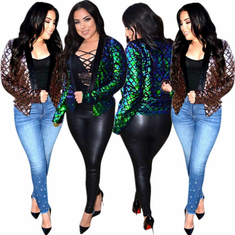 e442005c47 sparkly sequin glitter casual coat women Autumn Winter long sleeve ...