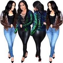 glitter green sequin harajuku jaqueta feminina clothes casacas para mujer coat women campera jeans casaco