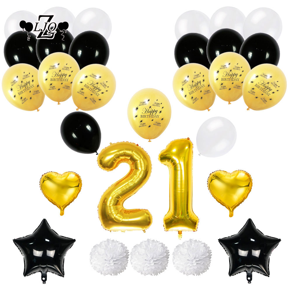 ZLJQ 21st Birthday Decoration Party Supplies Balloons Number 21 Old Year Black Pink Gold Flamingo Balloon Paper Flower Ball In Ballons Accessories From