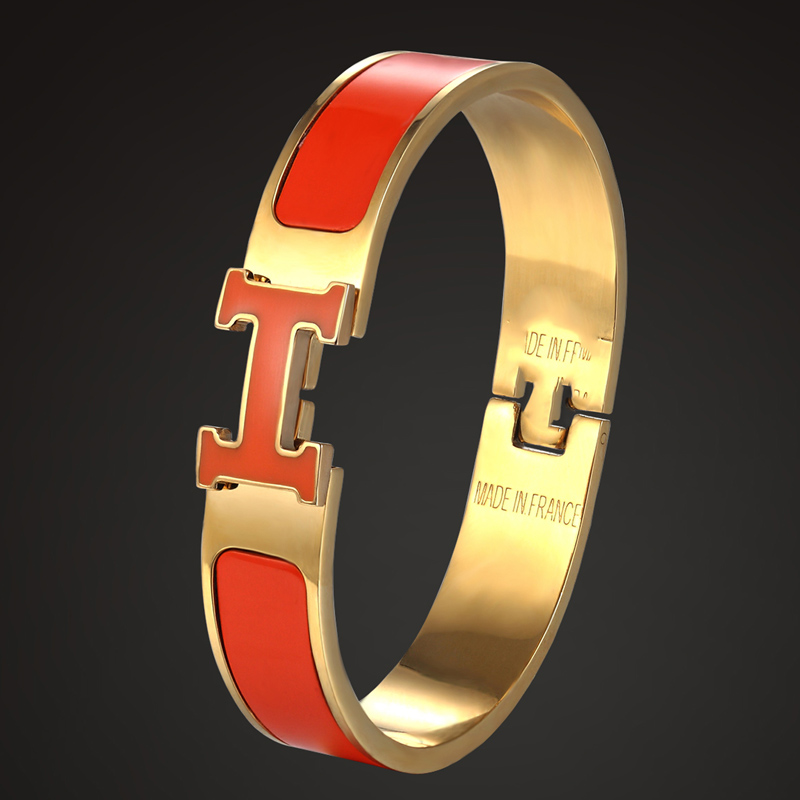Zlxgirl Luxury Brand H Letter Shape Enamel Gold Bangles for Women Wedding bridal jewelry Bracelets Bangle Anniversary Jewelry